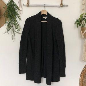 LOFT Ann Taylor charcoal gray waffle knit cardigan